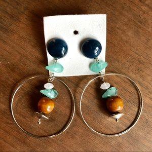 free people dangle hoop gemstone bead earrings